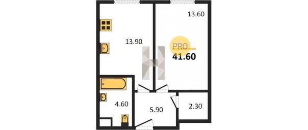 Апартаменты 1-комн. 41.6 м2 в ЖК Level Амурская