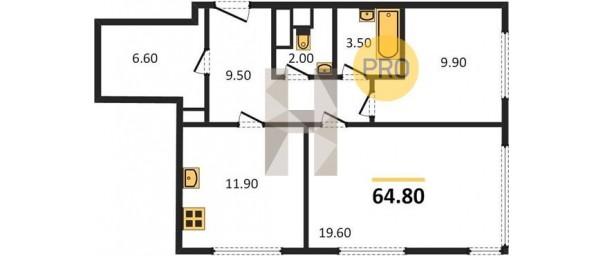Апартаменты 2-комн. 64,8 м2 в ЖК Level Амурская