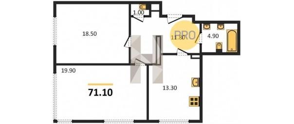 Апартаменты 2-комн. 71,1 м2 в ЖК Level Амурская