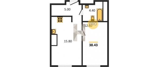 Апартаменты 1-комн. 38,43 м2 в ЖК ONLY