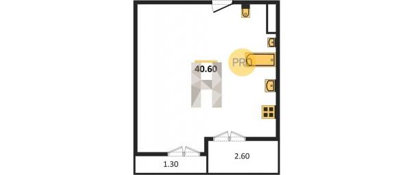 Однокомнатная квартира 40,6 м2 в ЖК Клубный дом Гришина 16